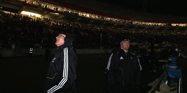 Loading A weather-related power outage plunged the lower North Island into darkness last night and brought the All Blacks test match to a halt. Photo / Getty Images.