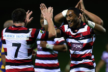 Bundee Aki of Counties celebrates a try during the round five ITM Cup match between Counties Manukau and Bay of Plenty. Photo / Getty Images,
