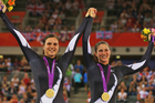 Gold medalists Phillipa Gray and Laura Thompson pose with their medals after winning the Women's Individual B Pursuit. Photo / Getty Images