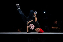 Shorty Force shows the talent that wins him the Red Bull BC One event at the Vector Arena in a final between him and Differ. Photo / Chris Loufte