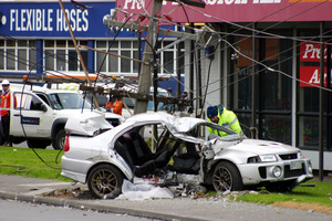 The crash scene in Onehunga yesterday morning. Photo / SNPA