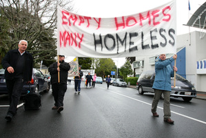 South Auckland Social Justice Network activists, seen protesting yesterday, say they will extend their action against Housing NZ beyond Papakura. Photo / Chris Gorman
