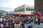 West Coast-Tasman MP Damien O'Connor addresses the 1000-strong crowd which marched through Greymouth in a bid to save the Spring Creek mine from closure. Photo / Greymouth Star