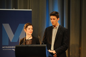 Otago University students Alice Osman and Louis Chambers speak at the two-day conference, where 50 students drew up a written constitution. Photo / Mark Tantrum