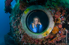 Oceanographer Sylvia Earle at the Aquarius underwater habitat in Florida Keys National Marine Sanctuary. Photo / Kip Evans