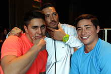 From left, Shaun Johnson, Feleti Mateo and Kevin Locke modelled at Fashion Week. Photo / Doug Sherring