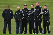 The team that steered the All Blacks to Rugby World Cup victory last year, from left, Steve Hansen, Graham Henry, Gilbert Enoka, Alistair Rogers, Mick Byrne and Wayne Smith
