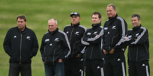The team that steered the All Blacks to Rugby World Cup victory last year, from left, Steve Hansen, Graham Henry, Gilbert Enoka, Alistair Rogers, Mick Byrne and Wayne Smith. Photo / Getty Images