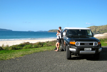 The new Toyota FJ Cruiser enables you to travel on gravel roads to spots like Otama Beach, north of Whitianga. Photo / Estelle Sarney