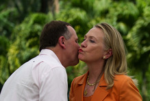 The US and New Zealand are close again - but not as close as an official transcript of an introduction John Key gave Hillary Clinton would suggest. Photo / Jim Watson