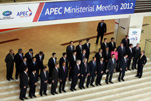 Ministers pose for a group photo after the APEC ministerial meeting in Vladivostok, Russia. Photo / AP