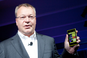 Stephen Elop, CEO of Nokia, introduces its newest smartphone, the Lumia 920. Photo / AP