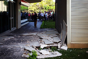 Instagram photo from Jose Pablo Pineda shows damage at an office building in San Jose, Costa Rica. Photo via AP