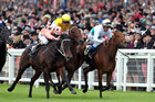 Black Caviar (left) wins the Diamond Jubilee at Royal Ascot in June. Photo / Steve Parsons