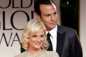Amy Poehler, left, and Will Arnett arrive at the 69th Annual Golden Globe Awards in Los Angeles. File Photo / AP