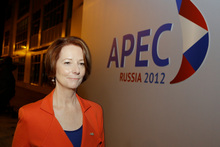 Australian prime minister Julia Gillard at the APEC summit in Vladivostok, Russia. Photo / AP 