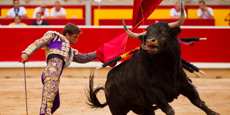 Spanish bullfighter Julian Lopez 'El Juli' performs with a Victoriano del Rio ranch fighting bull during a bullfight during the San Fermin festival, in Pamplona, Spain. Photo / AP