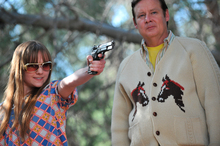 Tara Lynne Barr, left, and Joel Murray are shown in a scene from 'God Bless America'. Photo / Supplied