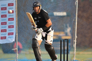 Captain Ross Taylor bats in the nets during a training session ahead of their first Twenty20 match against India. Photo / AP