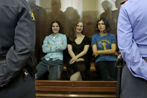 The Russians went over the top with their reaction to punk band members, from left, Yekaterina Samutsevich, Maria Alekhina and Nadezhda Tolokonnikova. Photo / AP