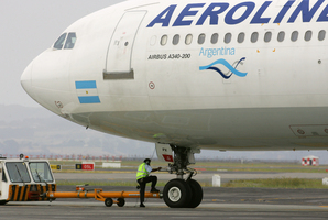 Aerolineas Argentinas passenger plane at Auckland International Airport. Photo / NZ Herald