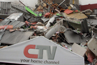 The remains of the collapsed CTV building Photo / Geoff Sloan
