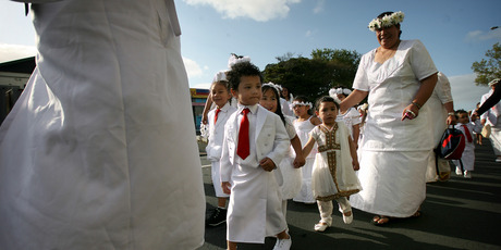Natalie Slade's picture of  Avondale Union Parish celebrating  White Sunday, or Children's Day, is in the New Zealand  Geographic competition. Photo / Natalie Slade
