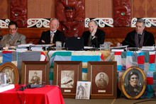 Waitangi Tribunal members, from left, Pou Temara, Timothy Castle, Ron Crosby and Chief Judge Wilson Isaac. Photo / Mark Mitchell