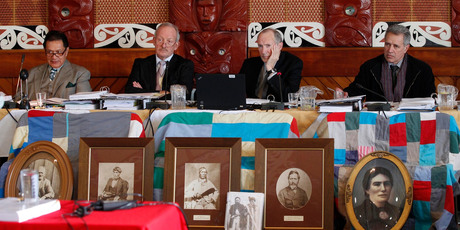 Waitangi Tribunal members, from left, Pou Temara, Timothy Castle, Ron Crosby and Chief Judge Wilson Isaac. Photo / Mark Mitchell