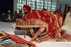 Arranged marriages are still common in New Zealand. One such union was that of Barwinder Kaur, pictured here, who wed Amininder Singha of Punjab, a groom chosen by her relatives. Photo / APN