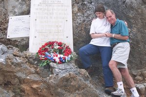 In 2001, the NZ Prime Minister at the time, Helen Clark, and Dudley Perkins' brother, Neville, laid a wreath on the plaque in Crete honouring the slain Kiwi soldier. Photo / Mark Mitchell