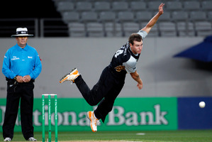 Black Caps player Doug Bracewell in action, during the Twenty20 Cricket match between New Zealand and South Africa earlier this year. Photo / NZ Herald