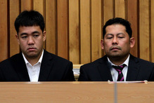 Leonil Relon (left), and Mauro Balomaga (right), of the container ship MV Rena as they were sentenced to seven months in jail for their part in the Rena grounding. Photo / NZ Herald