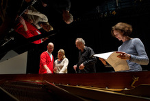 Baritone lead singer James Harrison, soprano singer Ursula Langmayr, conductor Uwe Grodd and composer Eve de Castro-Robinson.  Photo / Supplied