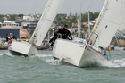 Josh Junior leads Jan Dawson in the match racing series. Photo / Paul Estcourt