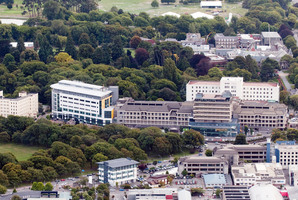 An aerial view of Christchurch Hospital a week following the 6.3 magnitude earthquake in February 2011. Photo / NZPA