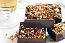 Chocolate butterscotch truffles with almond praline. Photo / Chris Court