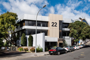 The three-storey office block for sale at 22 Dundonald St, Eden Terrace.