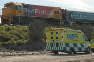 The train that hit a 25-year-old man near Masterton this morning stopped just south of the Waingawa River. Photo / Wairarapa Times-Age