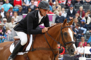 Andrew Nicholson took a single rail in the showjumping to win the Burghley title. Photo / Mark Mitchell