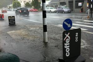 Flooding on Mt Eden Rd, Mt Eden, Auckland. Photo / John Mckeown