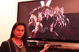 Shigeyuki Kihara with her work Galu Afi: Waves of Fire. Photo / Supplied