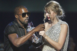 Kanye caused controversy in 2009 when he interrupted Taylor Swift's acceptance speech. Photo / AP