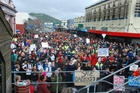 Protesters filled the streets of Greymouth. Photo / Greymouth Star