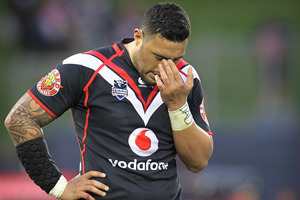 Feleti Mateo reacts after the Warriors' defeat to the Raiders on Sunday. Photo / Greg Bowker