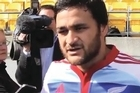 This is our video 'bomb'; All Black star Piri Weepu was being interviewed by media sideline at training before the test match against the Pumas Saturday, watch the cameraman in the background.