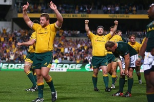 The Wallabies celebrate their first win of the 2012 Rugby Championship. Photo / Getty Images