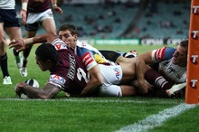  Jorge Taufua scores for Manly during the NRL Semi Final match between the Sea Eagles and the North Queensland Cowboys. Photo / Getty Images