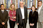 The Judges for the Man Booker prize for fiction, Bharat Tandon, Amanda Foreman, Sir Peter Stothard, Dinah Birch and Dan Stevens. Photo / AP