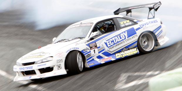 D1NZ champ Gaz Whiter in action in his Nissan Silvia S15. Photo / Michael Cunningham